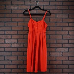 ASOS Red Button Front Midi Dress Size 4